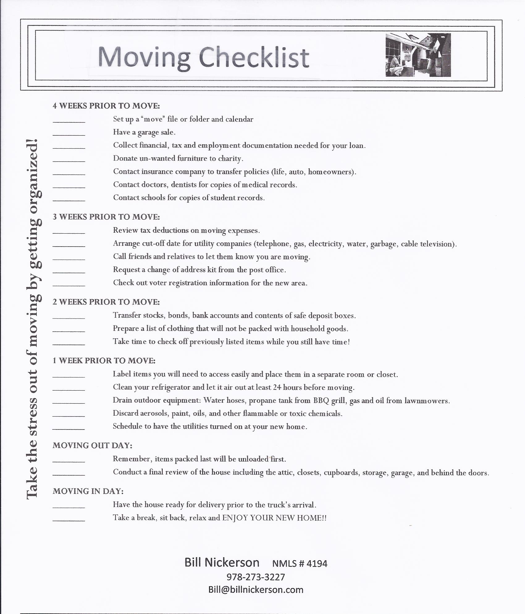 moving to a new home checklist change of address checklist moving house collection